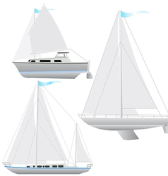 Set sailing boat floating vector image vector image