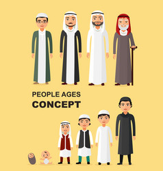 all age group of arab man family vector image