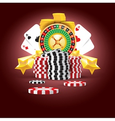 casino european roulette money cards game vector image vector image