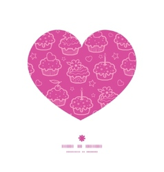 colorful cupcake party heart silhouette pattern vector image