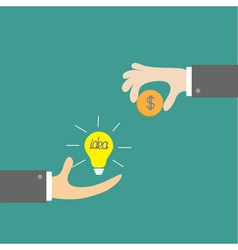 Hands with idea bulb and money coin Exchanging vector image