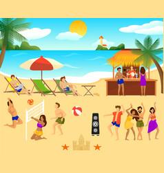 tropical beach elements set vector image vector image