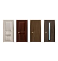 wooden doors design icon set vector image
