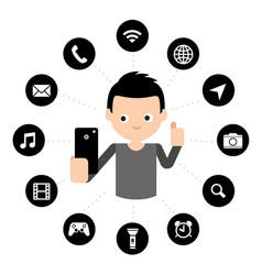 app touchscreen smart phone mobile icon vector image