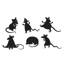 fancy rats silhouettes set vector image