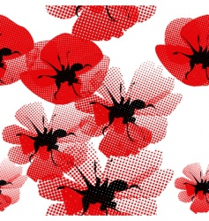 floral seamless pattern with poppy vector image