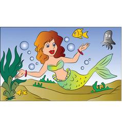 mermaid swimming underwater vector image