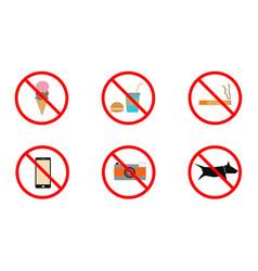 No smoking no cell phone no dogs and no eating vector
