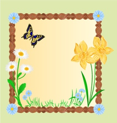 Spring floral background with butterflies vector image