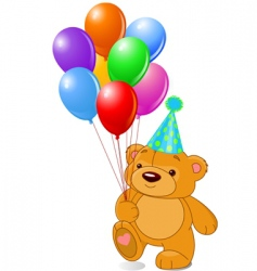 teddy bear with balloons vector image