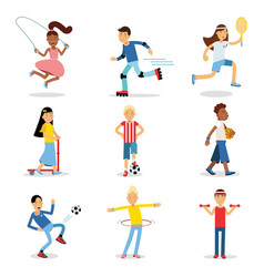 teenagers doing different sport set children vector image vector image