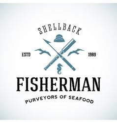 Vintage Shell Back Fisherman Logo Template vector image vector image