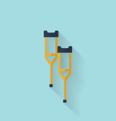 Woodent crutch flat icon Health care vector image