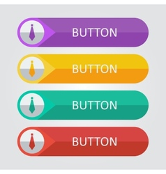 flat buttons with tie icon vector image vector image