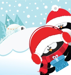Penguins With Gift vector image vector image