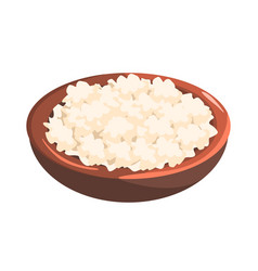 plate of cottage cheese food item rich in vector image vector image