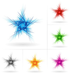 set of abstract stars vector image vector image