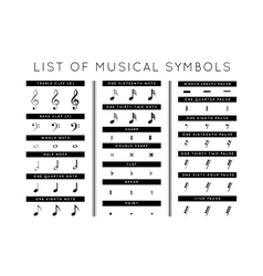 set of musical symbols vector image