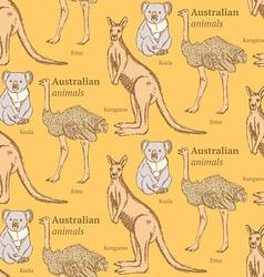 Sketch Australian animals in vintage style vector image