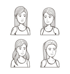 women with different hairstyles set vector image