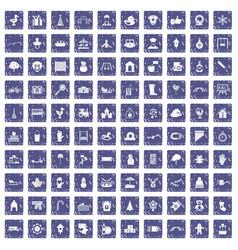 100 kindergarten icons set grunge sapphire vector