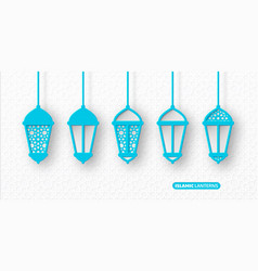 3d arabic lanterns with traditional patterns vector image