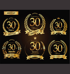 Anniversary golden laurel wreath 30 years vector