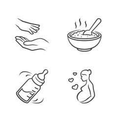Baby care outline icons vector