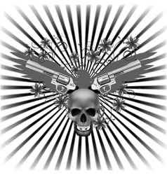 background eagle with a skull and guns vector image