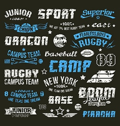 Badges baseball and rugby college team vector image