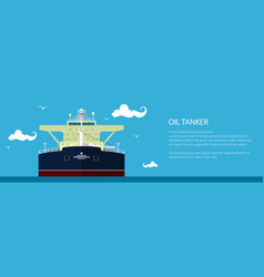 Banner with oil tanker vector