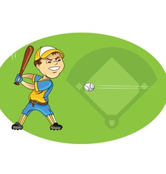 Baseball player swinging vector