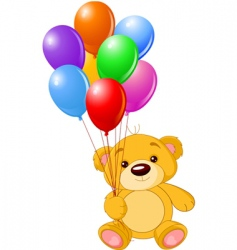 bear with balloons vector image