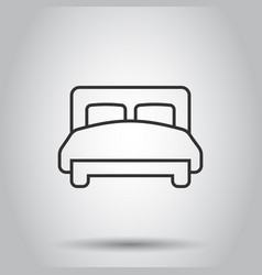 bed icon in flat style bedroom sign on white vector image