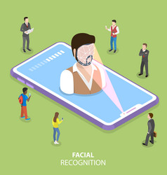 Biometric idetification flat isometric vector