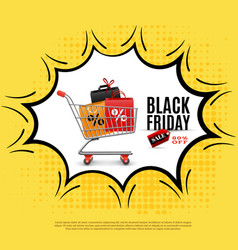 black friday comic bubble poster vector image
