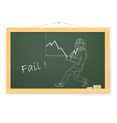 Blackboard with a businessman pushing the graph up vector