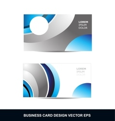 Blue silver grey business card design template vector