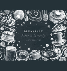 breakfast table top view frame on chalkboard vector image
