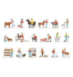 breeding animals farmland farm profession worker vector image