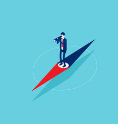 businessman standing on pointer and exploring vector image