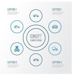 Car outline icons set collection of car bonnet vector