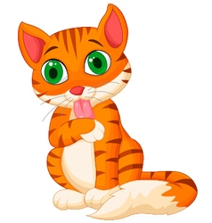 Cartoon cat licking its hand vector