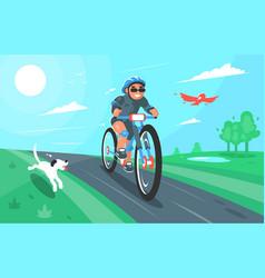 Cartoon of a cyclist with dog vector