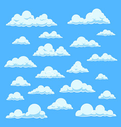 Cartoon white clouds blue sky with different vector