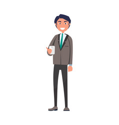 cheerful man in suit and tie smartphone vector image