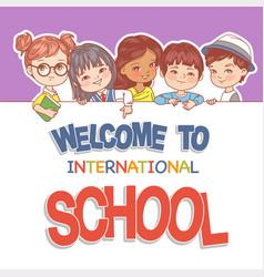 Children hold banner multinational kids smiling vector