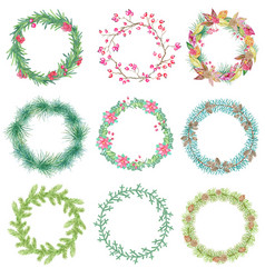 christmas and new year botanical set with garland vector image