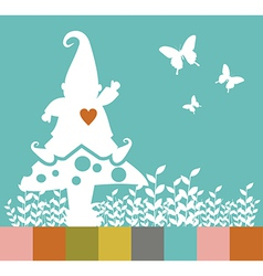 Christmas elf silhouette on a mushroom greeting vector image