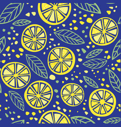 citrus colorful seamless pattern on blue vector image